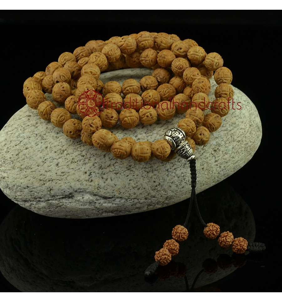 Om Mani Padme Hum Carved Bodhi Seed